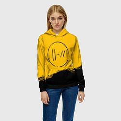 Толстовка-худи женская 21 Pilots: Yellow Logo цвета 3D-черный — фото 2