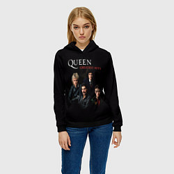 Толстовка-худи женская Queen: Greatests Hits цвета 3D-черный — фото 2