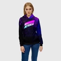 Толстовка-худи женская ATEEZ neon цвета 3D-черный — фото 2