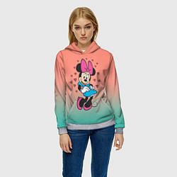 Толстовка-худи женская Минни Маус цвета 3D-меланж — фото 2