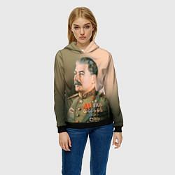 Толстовка-худи женская Иосиф Сталин цвета 3D-черный — фото 2