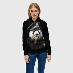 Толстовка-худи женская Панда с карамелью цвета 3D-черный — фото 2