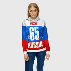 Толстовка-худи женская Russia: from 65 цвета 3D-белый — фото 2