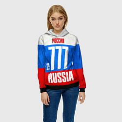 Толстовка-худи женская Russia: from 777 цвета 3D-черный — фото 2