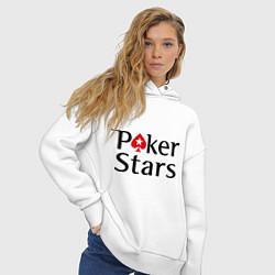 Толстовка оверсайз женская Poker Stars цвета белый — фото 2