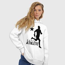 Толстовка оверсайз женская Лёгкая атлетика цвета белый — фото 2