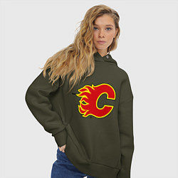 Толстовка оверсайз женская Calgary Flames цвета хаки — фото 2