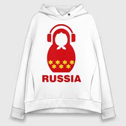 Толстовка оверсайз женская Russia dj цвета белый — фото 1