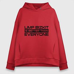 Толстовка оверсайз женская Limp Bizkit: Everyone цвета красный — фото 1