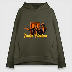 Толстовка оверсайз женская Pulp Fiction цвета хаки — фото 1