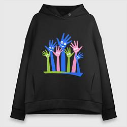 Толстовка оверсайз женская Hands Up цвета черный — фото 1