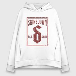 Толстовка оверсайз женская Shinedown est 2001 цвета белый — фото 1