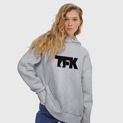 Толстовка оверсайз женская TFK: Black Logo цвета меланж — фото 2