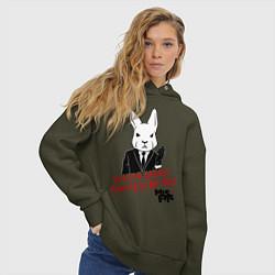 Толстовка оверсайз женская Misfits: White rabbit цвета хаки — фото 2