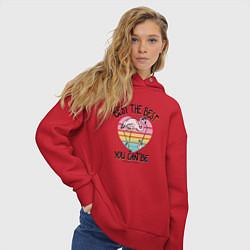 Толстовка оверсайз женская Best the Best: Flamingo цвета красный — фото 2