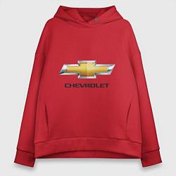 Толстовка оверсайз женская Chevrolet логотип цвета красный — фото 1