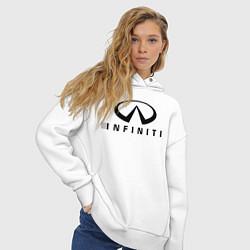 Толстовка оверсайз женская Infiniti logo цвета белый — фото 2