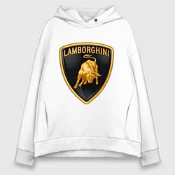 Толстовка оверсайз женская Lamborghini logo цвета белый — фото 1