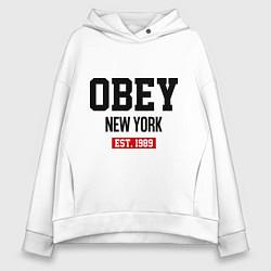 Толстовка оверсайз женская Obey Est. 1989 цвета белый — фото 1
