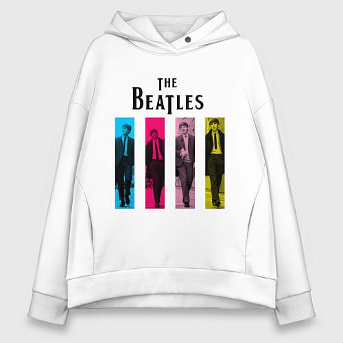 Женское худи оверсайз Walking Beatles / Белый – фото 1