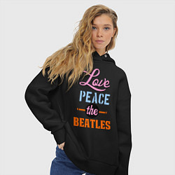 Толстовка оверсайз женская Love peace the Beatles цвета черный — фото 2