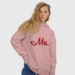 Толстовка оверсайз женская Mrs: Just married цвета пыльно-розовый — фото 2
