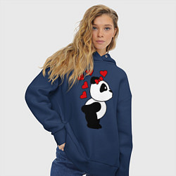 Толстовка оверсайз женская Поцелуй панды: для нее цвета тёмно-синий — фото 2