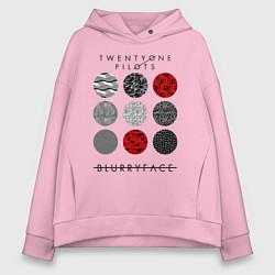 Толстовка оверсайз женская TOP: Blurryface цвета светло-розовый — фото 1