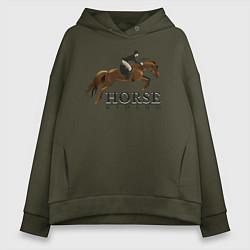 Толстовка оверсайз женская HORSE RIDING цвета хаки — фото 1