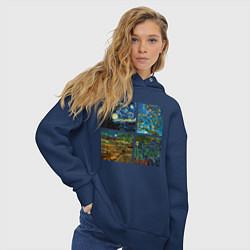 Толстовка оверсайз женская Ван Гог картины цвета тёмно-синий — фото 2