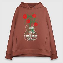 Толстовка оверсайз женская Каждая роза имеет шипы цвета кирпичный — фото 1
