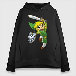Толстовка оверсайз женская The Legend of Zelda цвета черный — фото 1