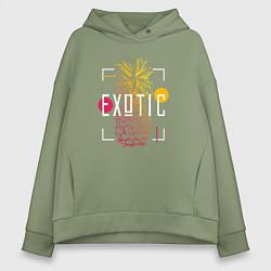 Толстовка оверсайз женская Ананас с надписью Exotic цвета авокадо — фото 1