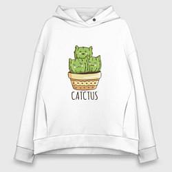Толстовка оверсайз женская Котики Кактусы Catctus цвета белый — фото 1