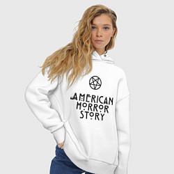 Толстовка оверсайз женская American horror story цвета белый — фото 2