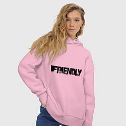 Толстовка оверсайз женская DayZ: Im friendly цвета светло-розовый — фото 2