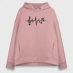 Толстовка оверсайз женская Heartbeat Music цвета пыльно-розовый — фото 1
