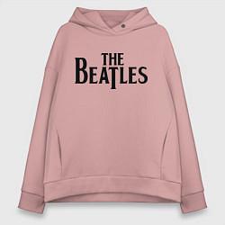 Толстовка оверсайз женская The Beatles цвета пыльно-розовый — фото 1