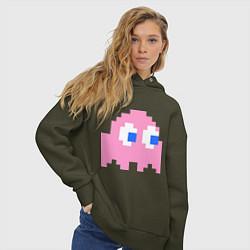 Толстовка оверсайз женская Pac-Man: Pinky цвета хаки — фото 2