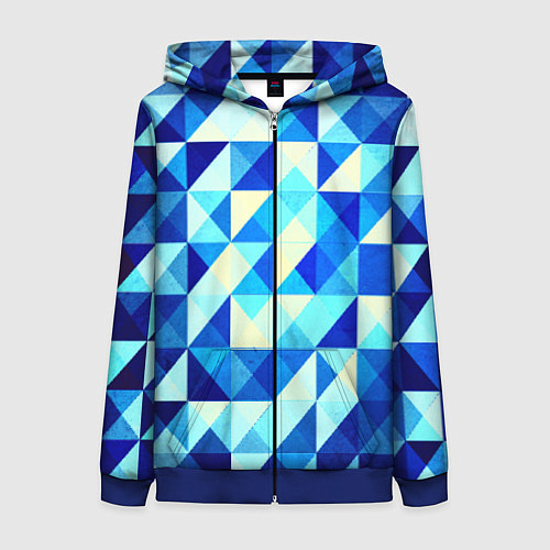 Женская толстовка на молнии Синяя геометрия / 3D-Синий – фото 1