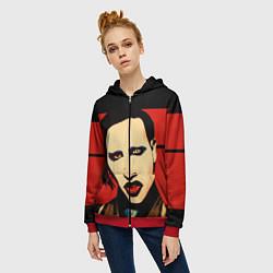 Толстовка на молнии женская Mаrilyn Manson цвета 3D-красный — фото 2