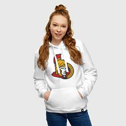 Толстовка-худи хлопковая женская Ottawa Senators цвета белый — фото 2