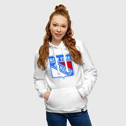 Толстовка-худи хлопковая женская New York Rangers цвета белый — фото 2
