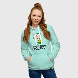 Толстовка-худи хлопковая женская Moby цвета мятный — фото 2