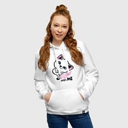 Толстовка-худи хлопковая женская Cat: Play with me цвета белый — фото 2