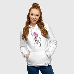 Толстовка-худи хлопковая женская Влюблённая зайка цвета белый — фото 2