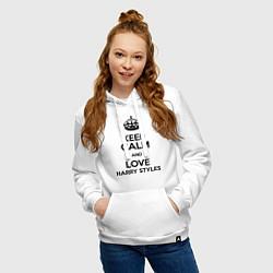 Толстовка-худи хлопковая женская Keep Calm & Love Harry Styles цвета белый — фото 2