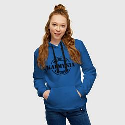 Толстовка-худи хлопковая женская Made in Kalmykia цвета синий — фото 2