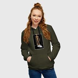Толстовка-худи хлопковая женская Groot! цвета хаки — фото 2