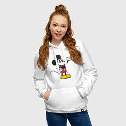 Толстовка-худи хлопковая женская Микки Маус цвета белый — фото 2
